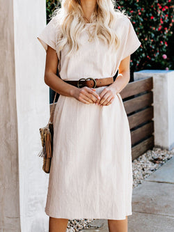 White Women Dresses Linen Solid Dresses