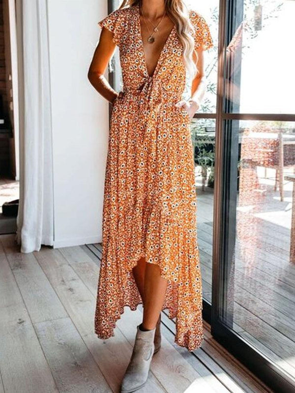 Chiffon v neck boe decorated asymmetrical vacation dress