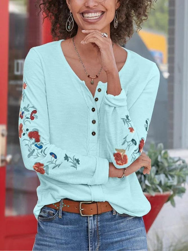 Women Floral Casual Long Sleeve Shirts & Tops