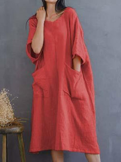 Casual round neck plain loose casual dress