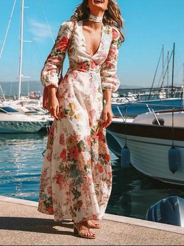 Sexy deep v neck floral printed slim vacation  dress maxi dress