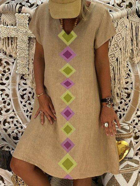 Summer Geometric Print V-Neck Shift Casual Dress