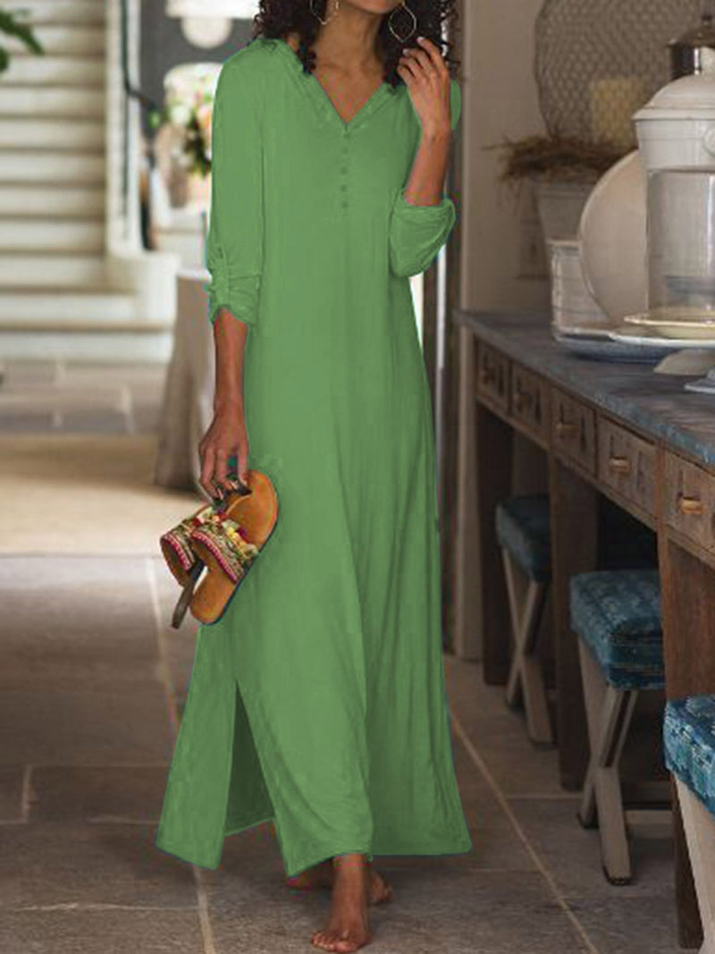 Spring/Summer V Neck Convertible Sleeves Slit Side Maxi Dresses