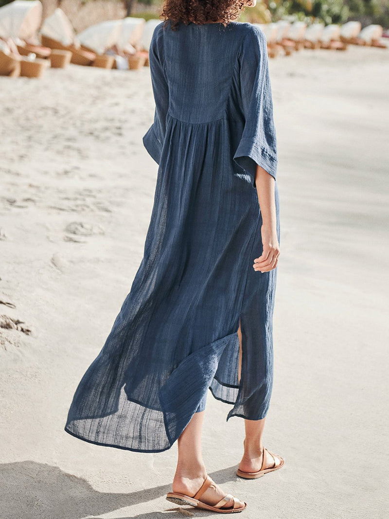 Kaftan V-Neck Half Sleeves Paneled Shift Midi Dresses