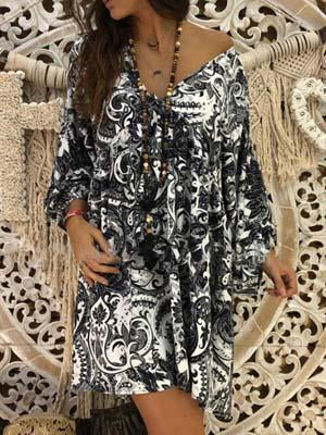 V neck floral printed loose casual dress