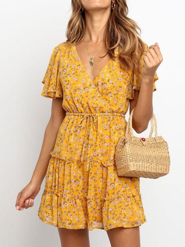 Summer v neck floral printed belted vacation dress