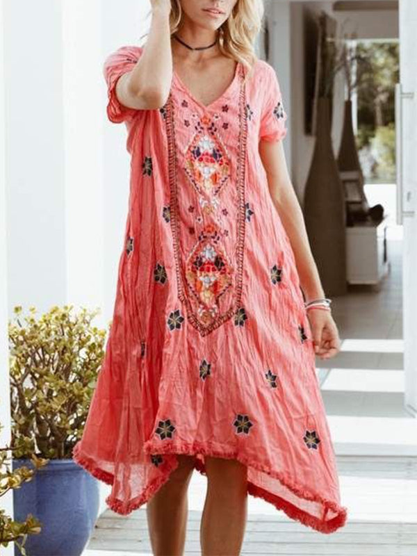 V Neck Floral Short Sleeve Dresses