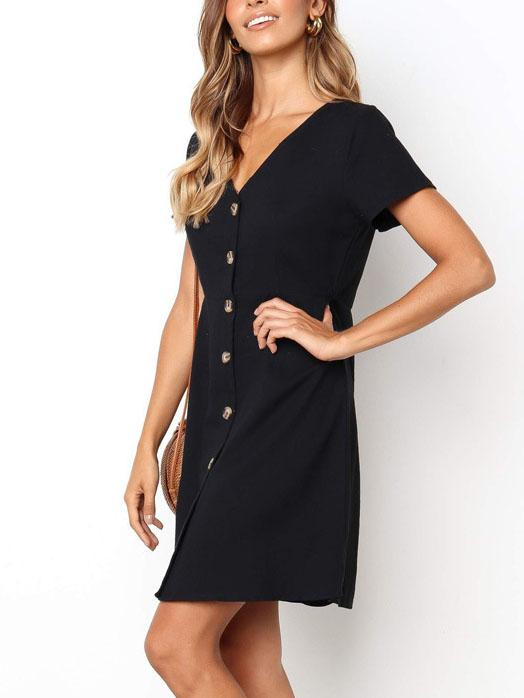 Casual v neck plain button decorated casual dress