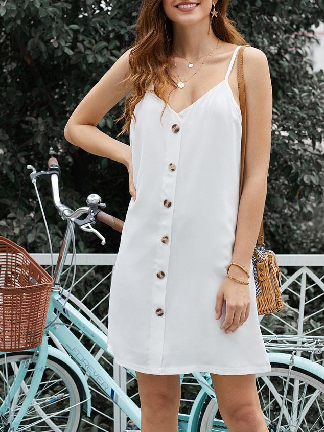 Casual v neck button decorated loose casual dress mini  dress