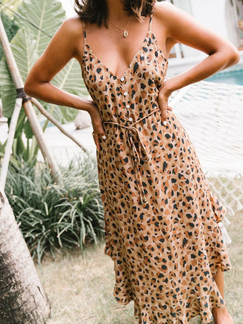Fashion v neck leopard printed button beach vacation dress