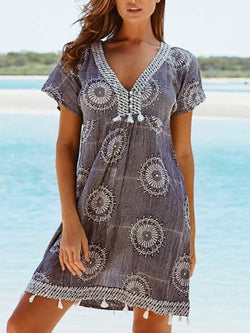 Women Casual Short Sleeve V Neck Printed Dress