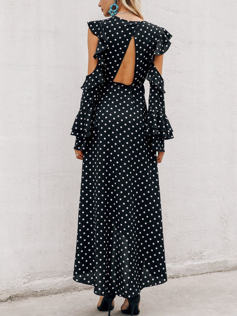 Elegant deep v neck dot printed flounce decorated vacation dress