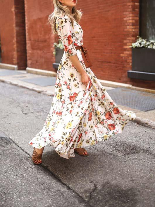 Round neck loose floral printed vacation dress