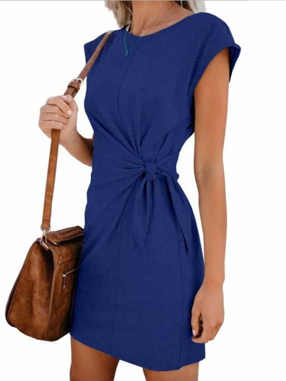 Daily plain strappy loose short sleeve casual dress