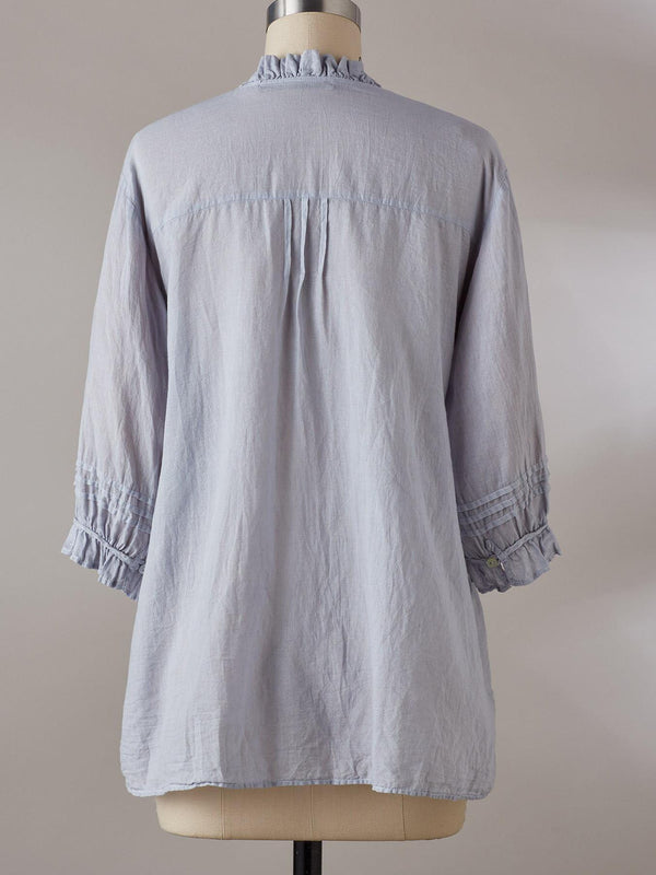 Summer high neck flounce decorated loose shirt
