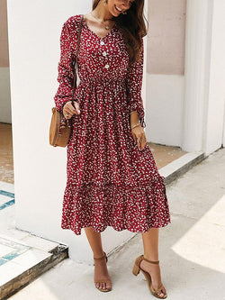 Fashion v neck floral printed button decorated vacation dress