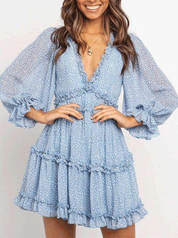 2020 sexy deep v neck floral printed slim backless mini dress-blue