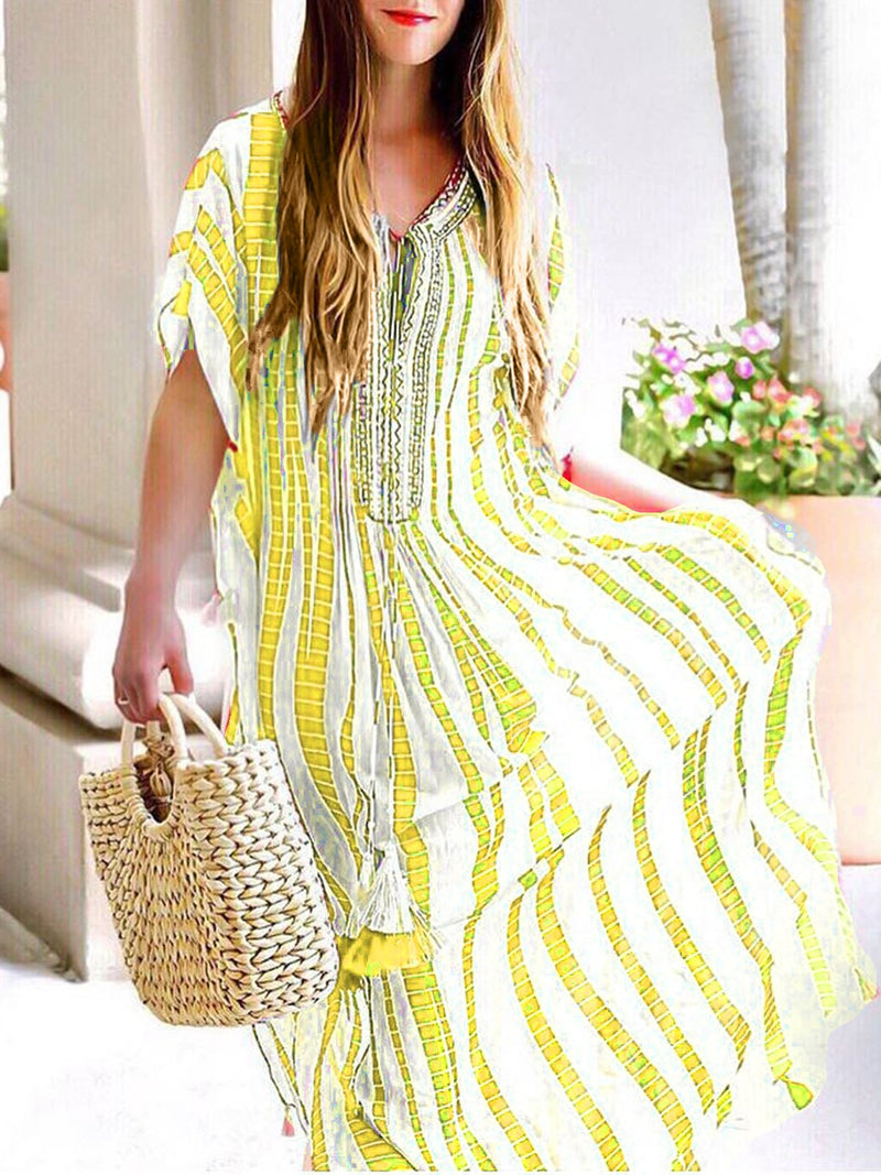 Women Chic Embroidered Short Sleeve Chiffon Dresses