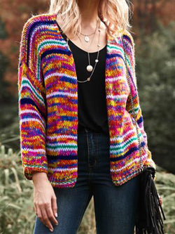 Plus Size Multicolor Tribal Women Knitted Short Cardigans