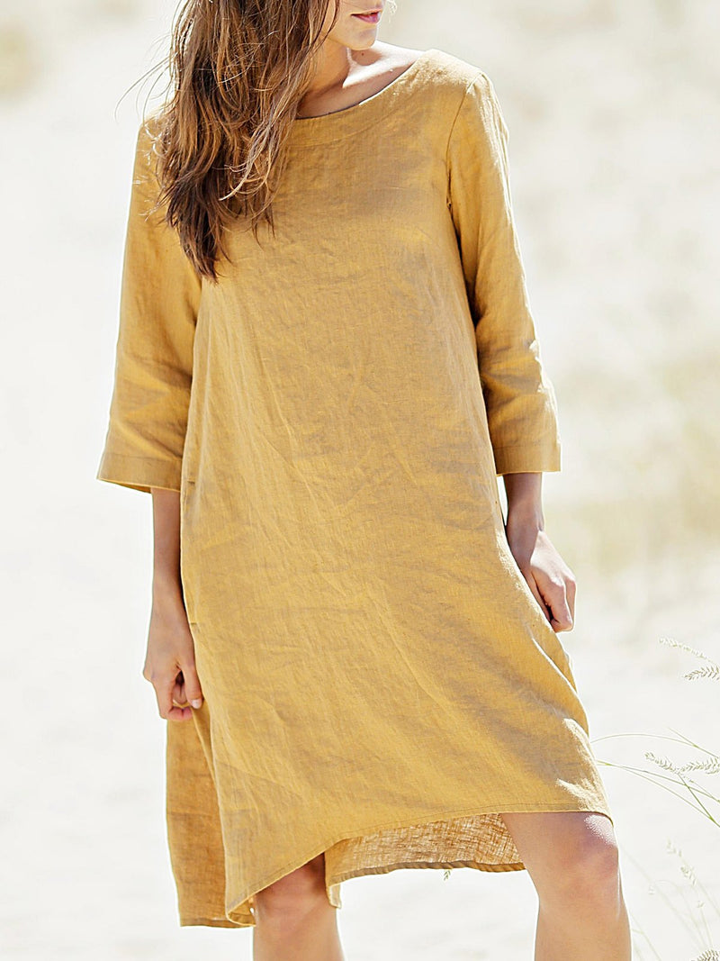 Solid 3/4 Sleeve Casual Dresses