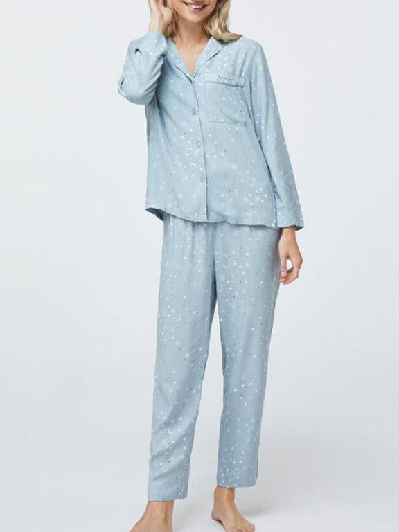 Lapel cotton stars  printed loose pajamas set