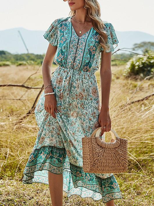 Green women floral printed summer dress