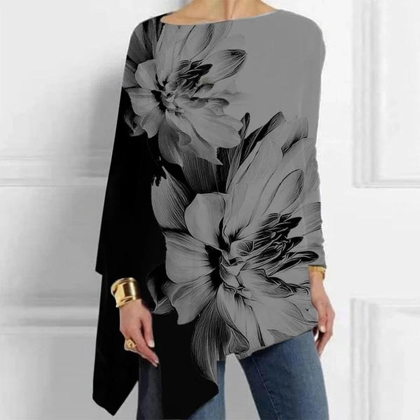 Color block printed loose long sleeve shirt