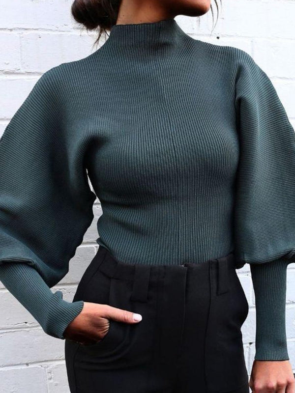 Fashion high neck plain pagoda sleeve sweater