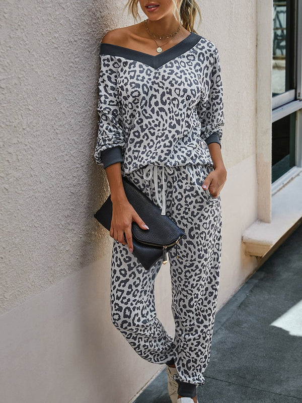 V neck leopard printed loose two piece suit