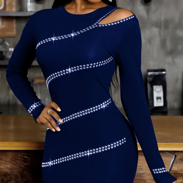 Round neck off shoulder rhinestone dress