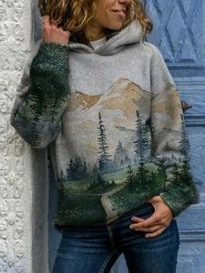 2020 mountains-and-waters printed  loose hoodie