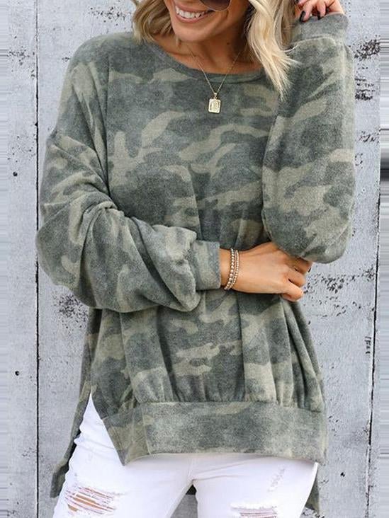 Fashion green camouflage printed slit hoodie