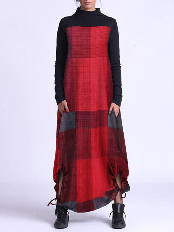 Black and color plaid joint women cotton&linen dress