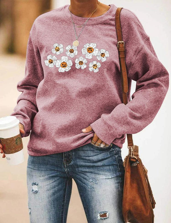 2020 floral printed round neck long sleeve top