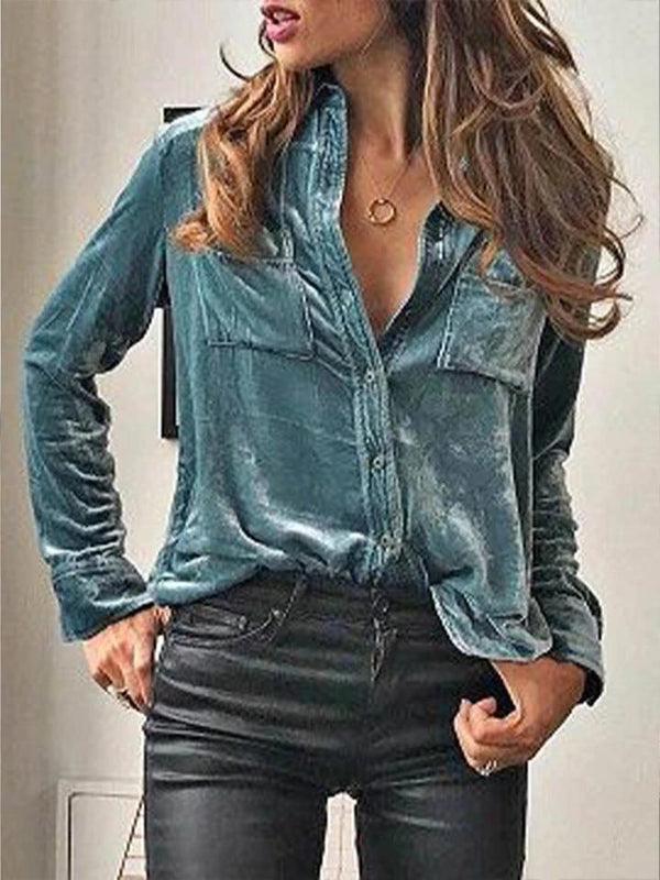 Women'S Retro Velvet Pocket Long Sleeve Shirt
