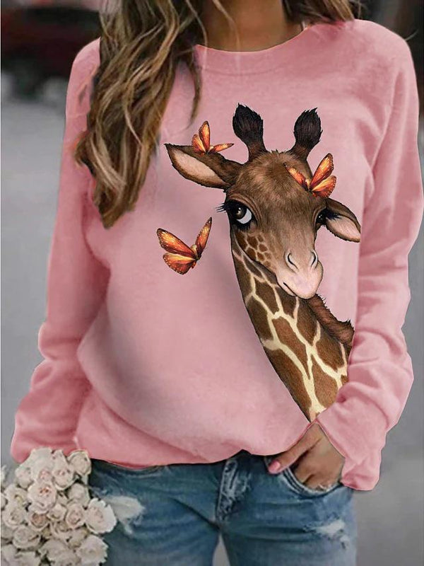 Women giraffe&butterflies printed casual sweater