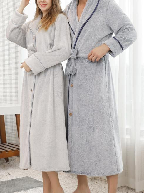 Lapel loose button keep warm pajamas