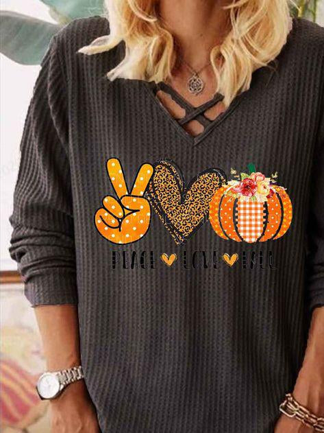 Halloween v neck pumpkin printed cross strap long sleeve top