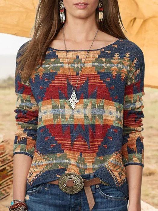 Round neck printed long sleeve top