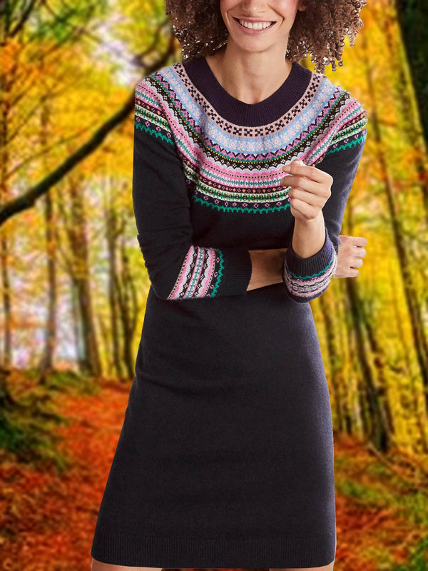 Black ethnic style keep warm sweater  dress