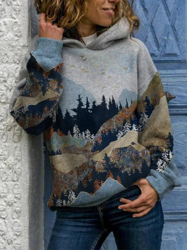 2020 popular mountains-and-waters painting loose hoodie with hat