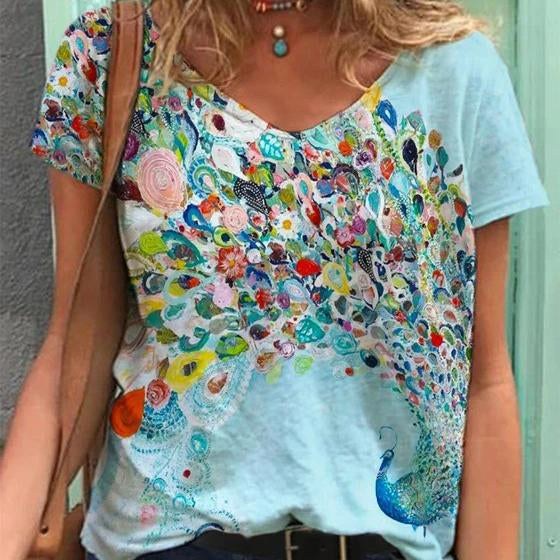 Summer v neck birds printed women t-shirt
