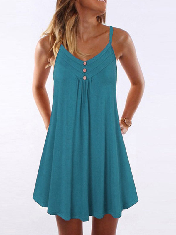 Pure color summer women sleeveless simple dress