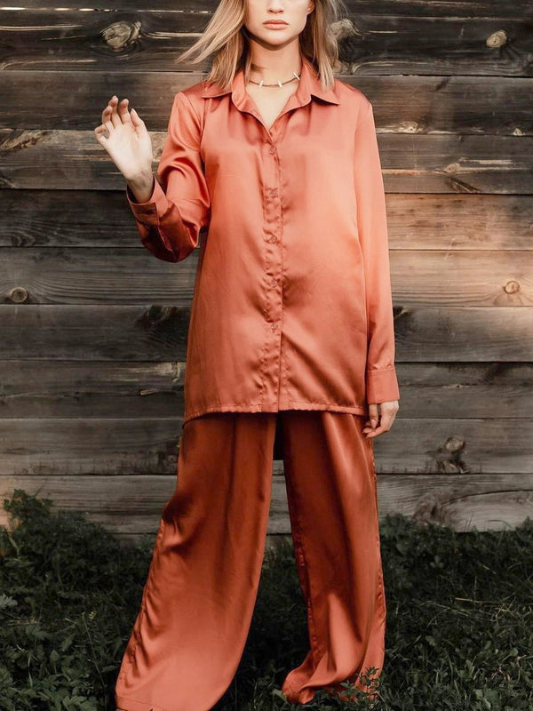 Orange women satin long sleeve pajamas set