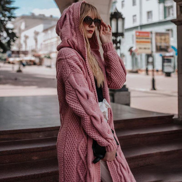 Chiv plian thicken loose long  sweater cardigan coat with hat