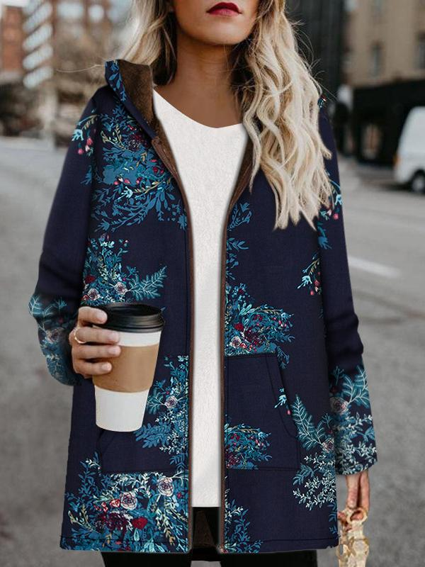 Blue and green printed keep warm coat