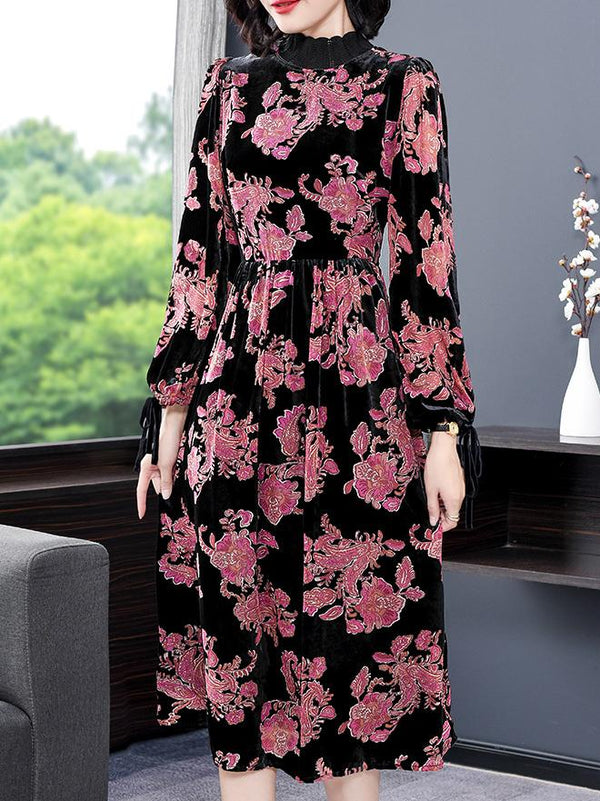 High color women red flower printed black dress