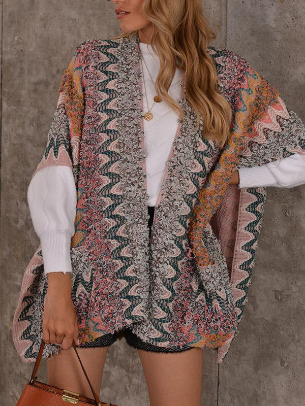 Fashion printed loose knit sweater cardigan