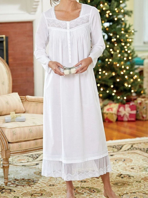 White square collar lace nightdress