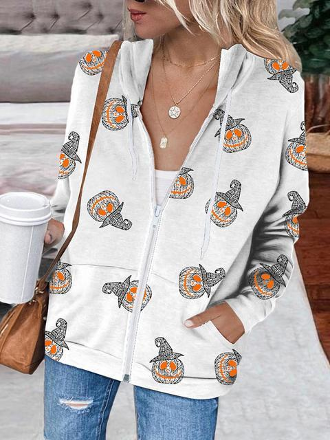 Halloween  funny gray pumpkin printed zipper coat